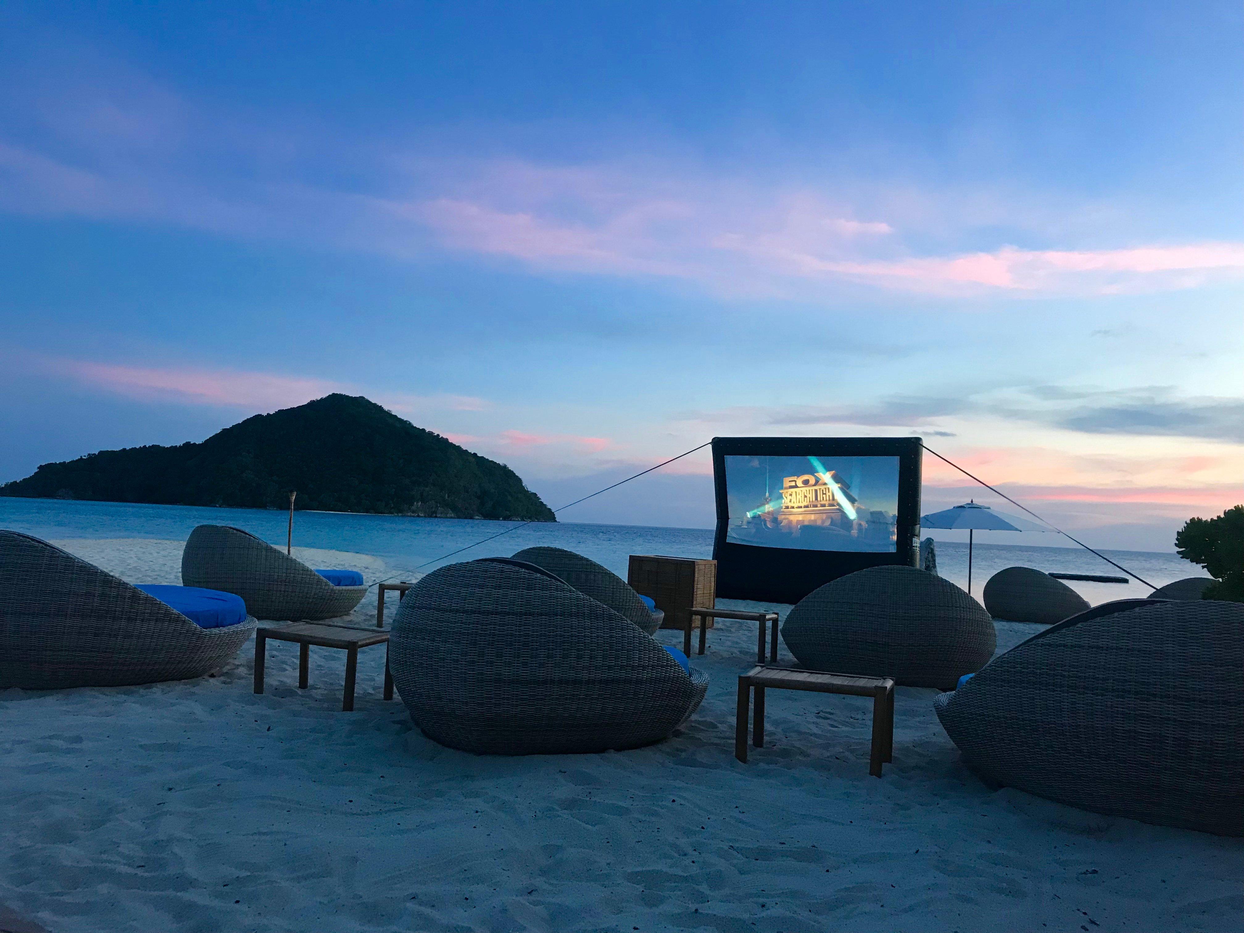 Outdoor beach cinema movie night